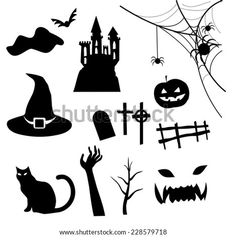 Haloween icon set vector - stock vector