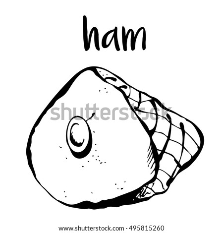 Ham isolated on white background, vector illustration