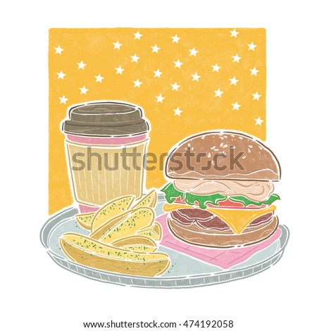 Hamburg coffee fries, lunch time, food illustration