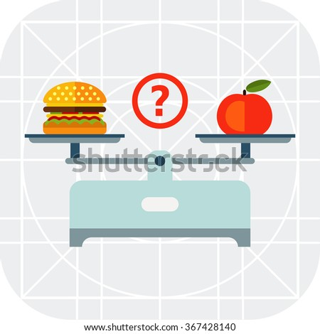 Hamburger and apple on scales cups - stock vector