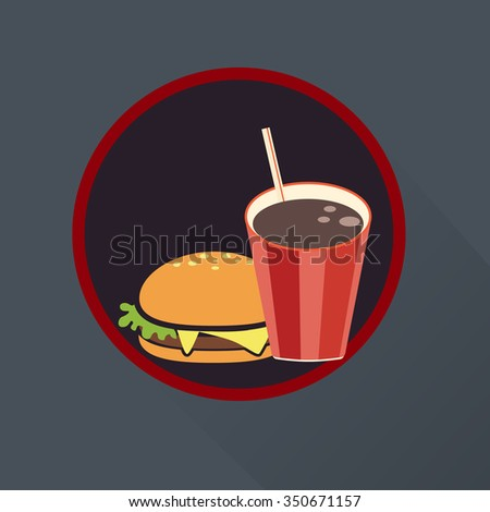 Hamburger and cola icon