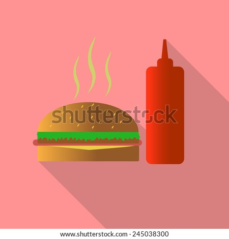 hamburger and sauce flat style Icon and illustration - stock vector
