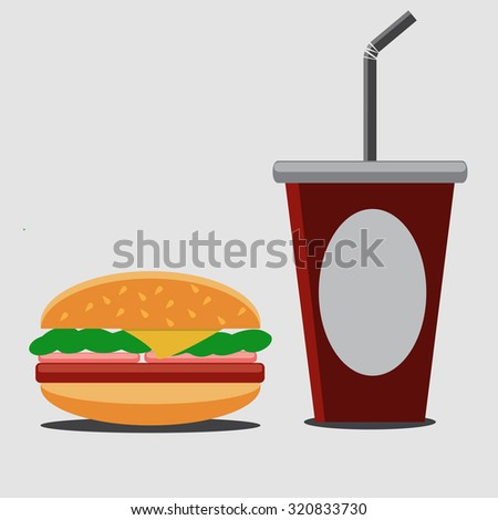 Hamburger and soda.Vector illustration.