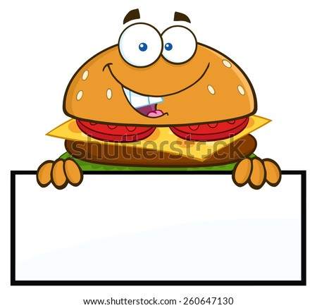 Hamburger Cartoon Character Over A Blank Sign. Vector Illustration Isolated On White - stock vector