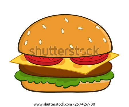 Hamburger Cartoon Vector Illustration Isolated On White - stock vector