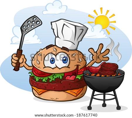 Hamburger Cheeseburger Cartoon Character Grilling with a Chef Hat - stock vector
