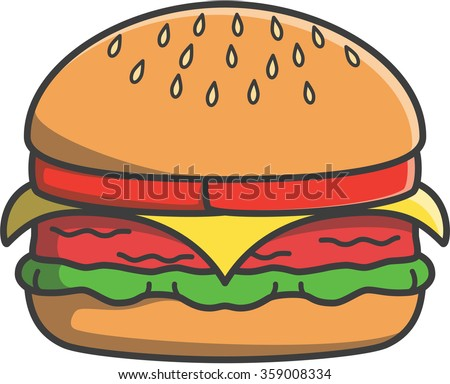 Hamburger cute doodle illustration design