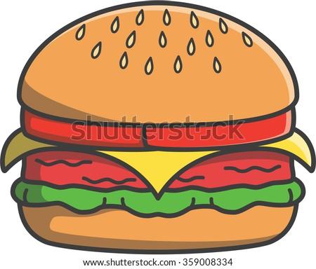 Hamburger cute doodle illustration design - stock vector