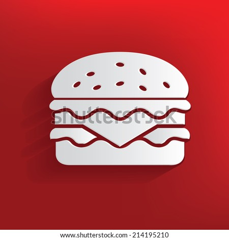 Hamburger design on red background,clean vector - stock vector