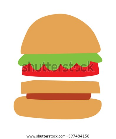 Hamburger fast food and hamburger tasty grilled american dinner. Hamburger classic cuisine gourmet fast food. Hamburger cheeseburger. Hamburger with meat, lettuce and cheese sandwich fast food vector. - stock vector