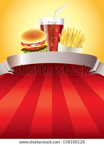 Hamburger, fried potatoes and cola on red stripped background vector illustration - stock vector