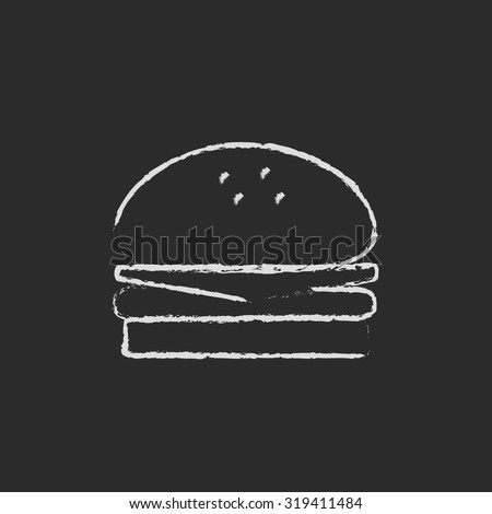 Hamburger hand drawn in chalk on a blackboard vector white icon isolated on a black background. - stock vector