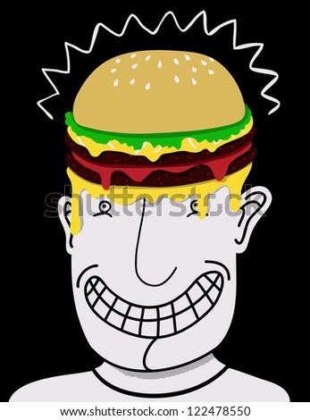 hamburger head - stock vector