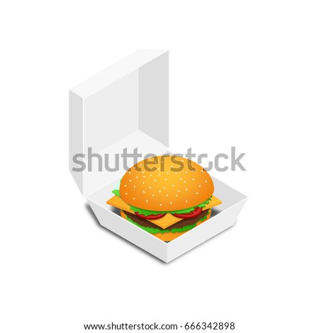 Hamburger icon in an open white box. Vector illustration. Isometric, 3D.