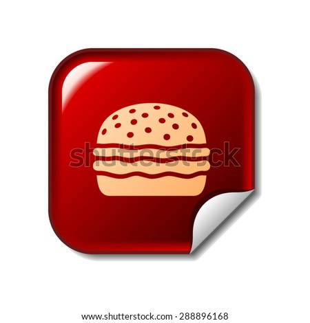 Hamburger icon on red sticker - stock vector