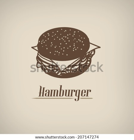 Hamburger in vitage style poster with hamburger symbol, vector illustration