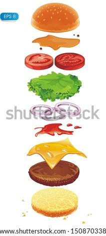 Hamburger ingredients isolated on white. Fastfood Vector illustration - stock vector