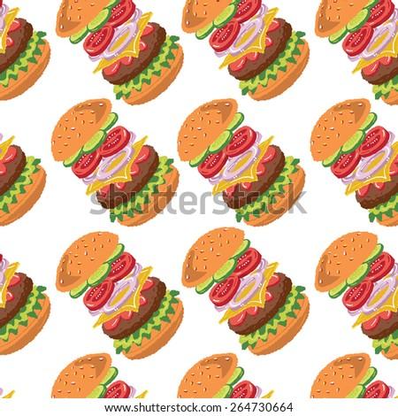 Hamburger Ingredients pattern - freehand drawing vector illustration - stock vector