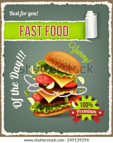Hamburger is exploding. Vector fast food banner - stock vector