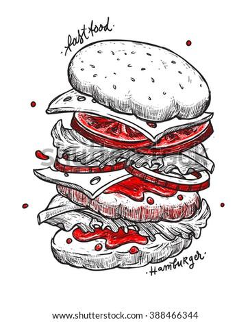Hamburger isolated hand sketch. Fast food illustration. Sketch vector illustration. Fast food restaurant, fast food menu. Hand drawn hamburger isolated. Sketch food, isolated. Vector illustration. - stock vector