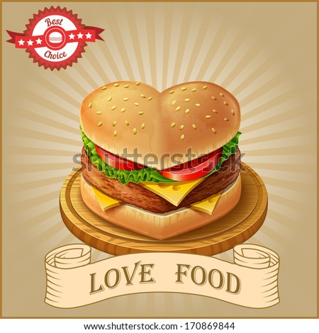 Hamburger love - stock vector