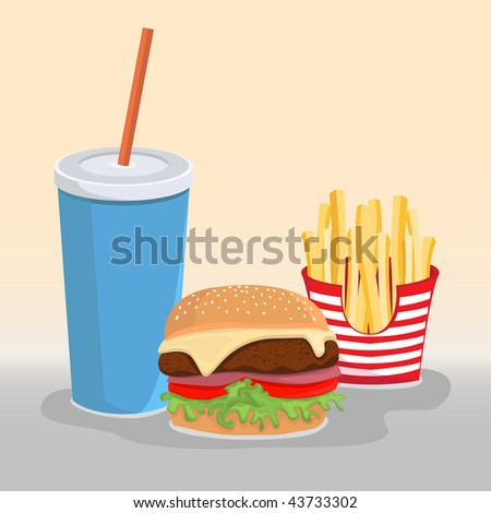 Hamburger Menu Illustration, Cola Drink, Fries and Hamburger.