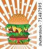 hamburger on Sunburst background - stock vector