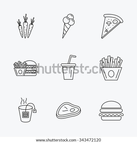 Hamburger, pizza and soft drink icons. Tea bag, meat and chips fries linear signs. Ice cream, carrot icons. Linear black icons on white background.