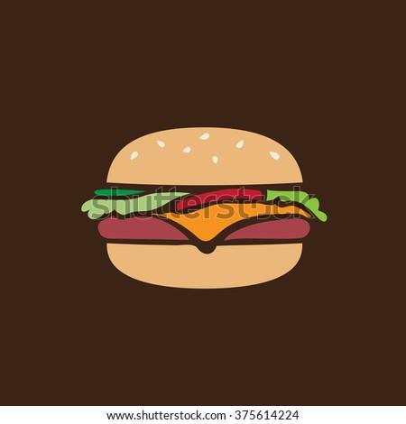 Hamburger retro icon - stock vector