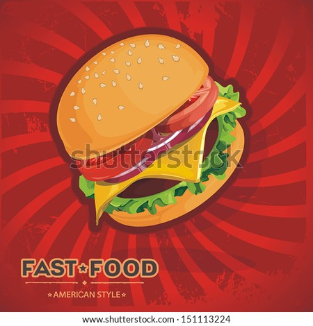 Hamburger retro style on red background. Vector illustration