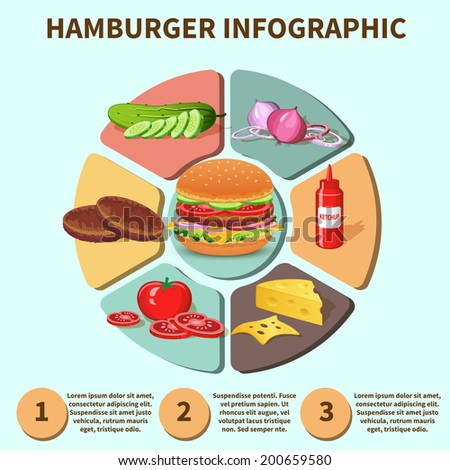 Hamburger sandwich with meat cheese tomato lettuce bun cucumber pie chart infographic vector illustration - stock vector