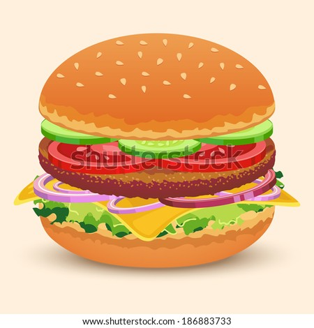 Hamburger sandwich with meat cheese tomato lettuce bun cucumber vector illustration