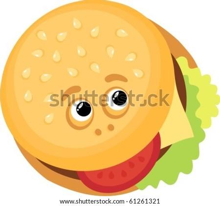 Hamburger smile - stock vector