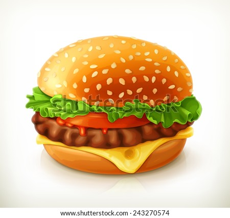 Hamburger, vector icon - stock vector