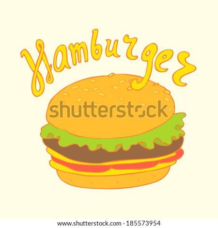 hamburger vector illustration, hand drawn - stock vector