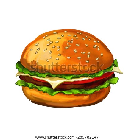hamburger  vector illustration  hand drawn  painted watercolor