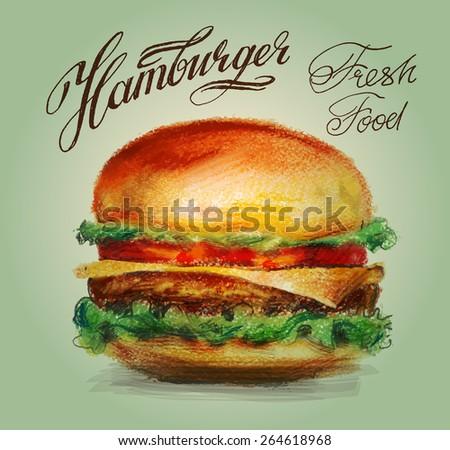 hamburger vector logo design template. burger or fast food icon. - stock vector