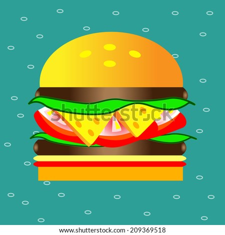 Hamburger with cheese tomato meat and salad vector background illustration - stock vector
