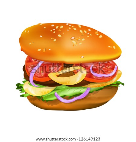 Hamburger with tomato, lettuce, onion and meat. Vector