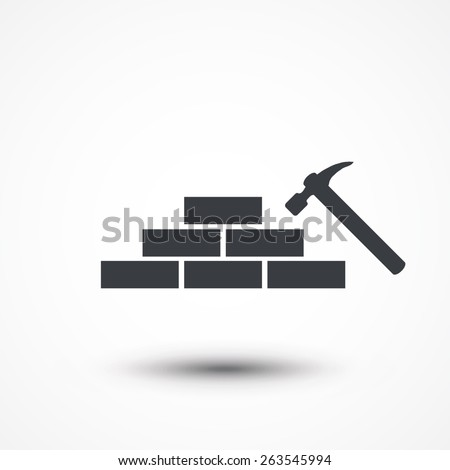 Hammer and bricks icon. - stock vector