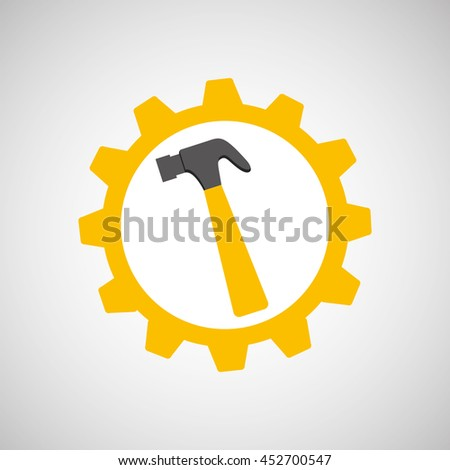 hammer and construction tool icon, vector illustration