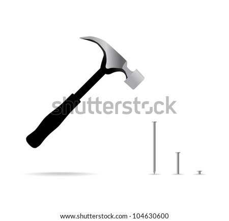 hammer and nail isolated - illustration - stock vector