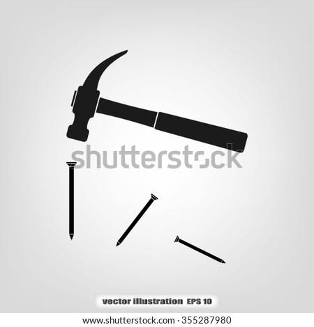 hammer and nails - stock vector