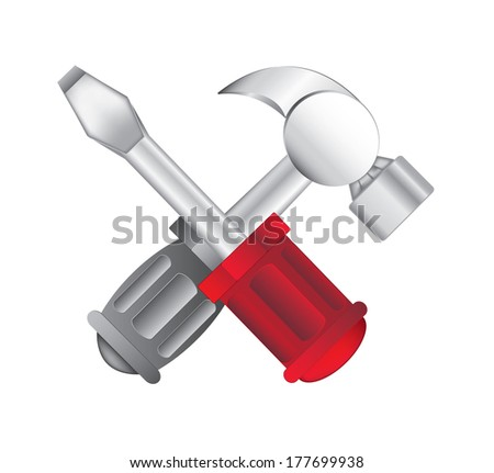 hammer and screwdriver icon on white background