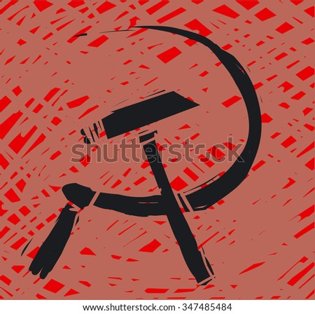 Hammer and sickle grunge icon