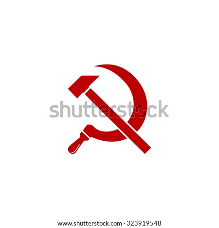 Hammer and sickle. Red flat icon. Vector illustration symbol - stock vector