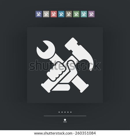 Hammer and wrench - stock vector