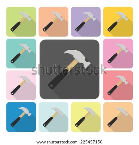 Hammer Icon color set vector illustration. - stock vector