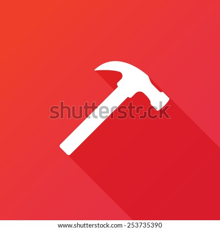 Hammer icon. Flat icon with long shadow - stock vector