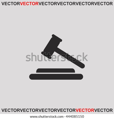 Hammer judge icon. Grey image on grey background. Web icon. - stock vector